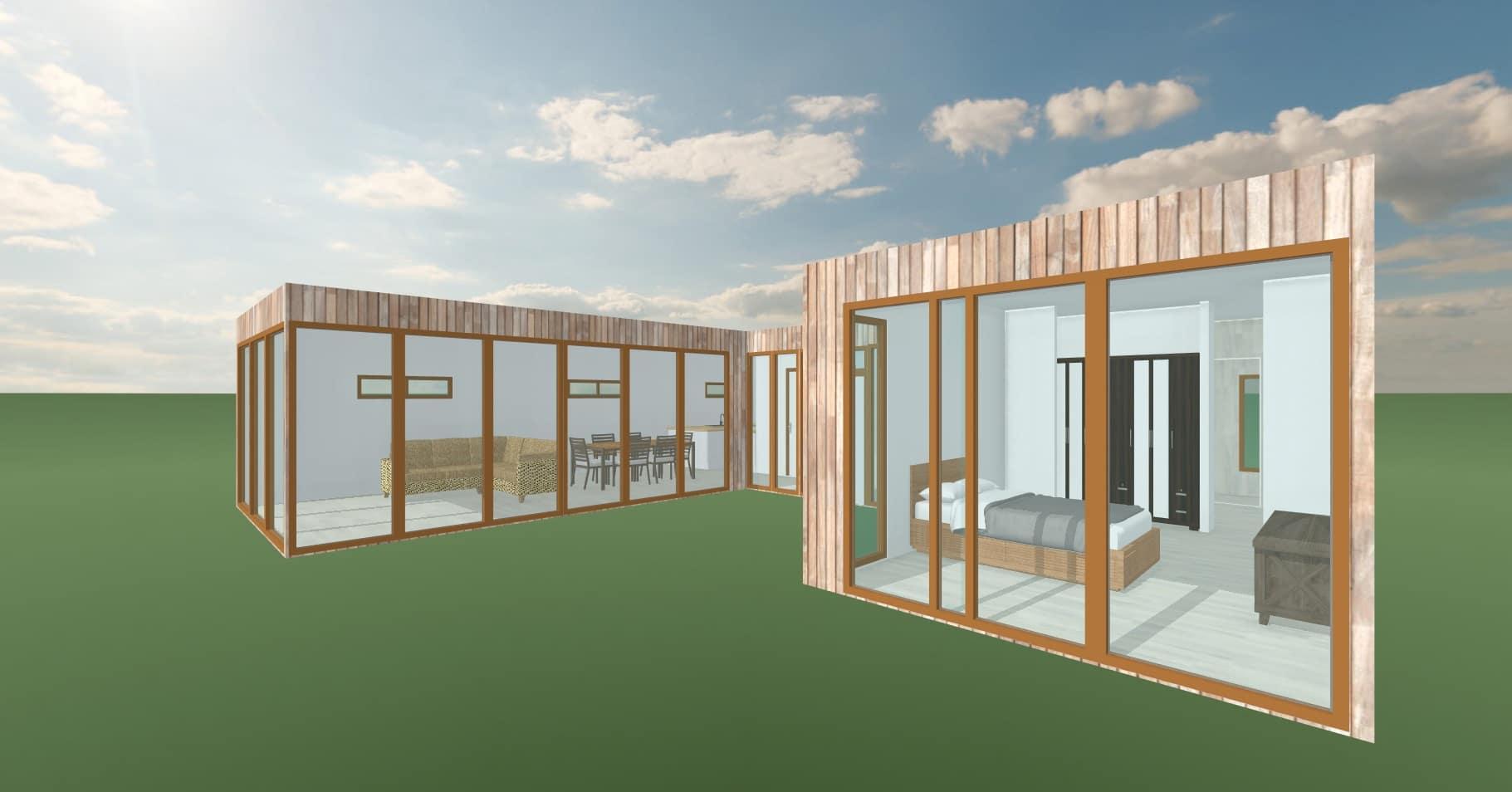 Elevacion dormitorio   103 m2Casa mediterranea prefabricada en U