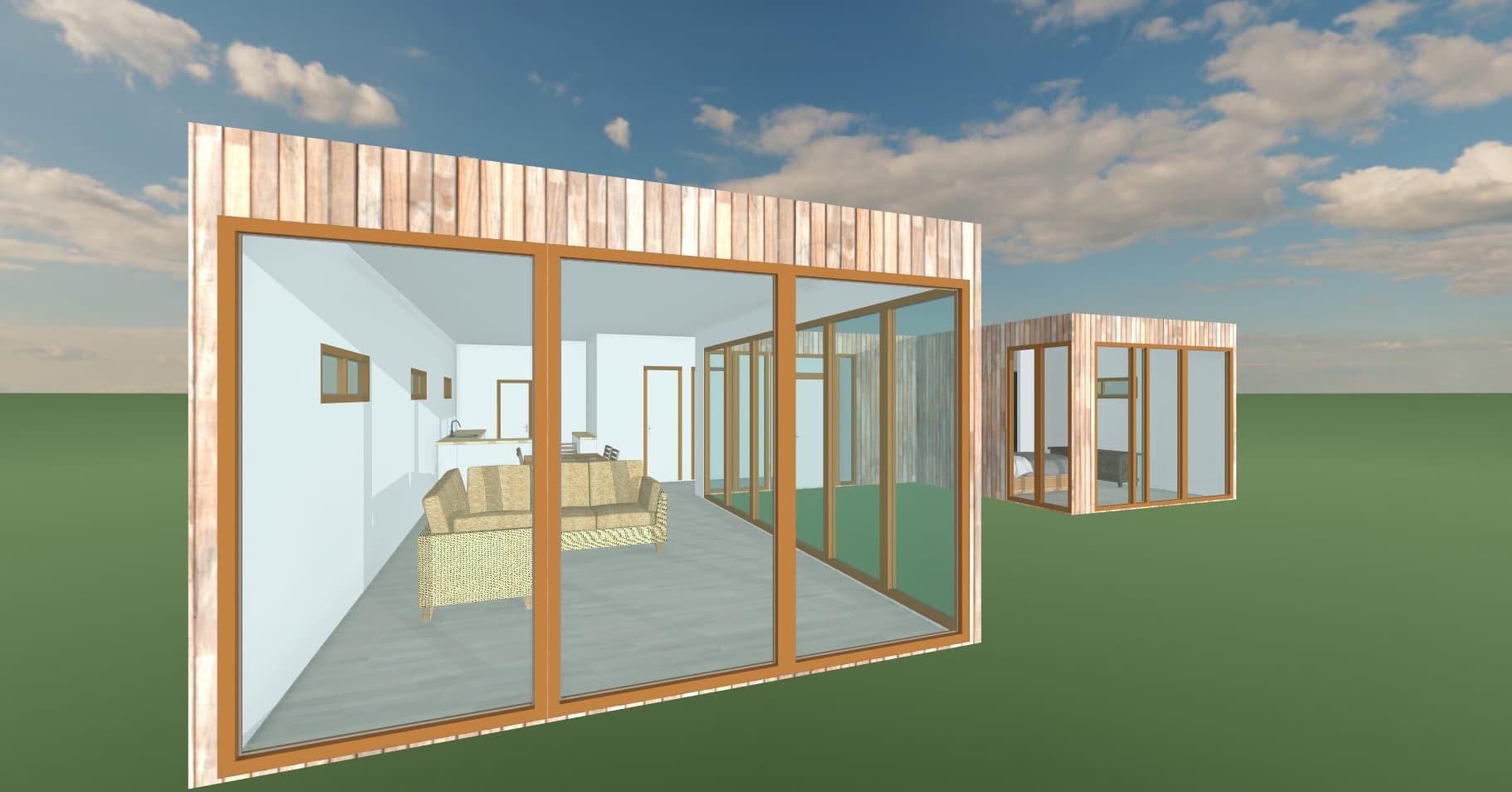 Elevacion living  103 m2Casa mediterranea prefabricada en U