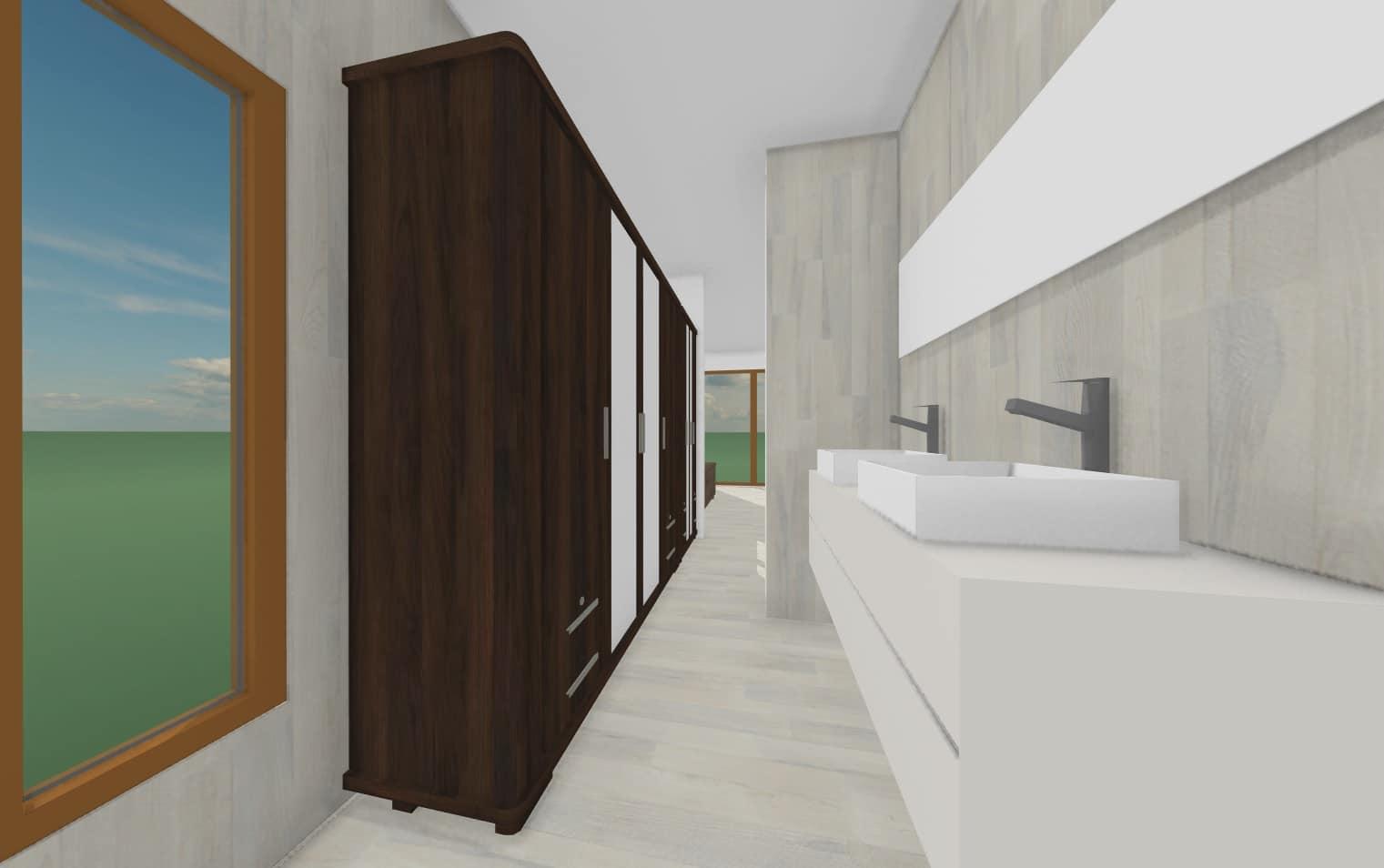 Vista baño suite     103 m2Casa mediterranea prefabricada en U