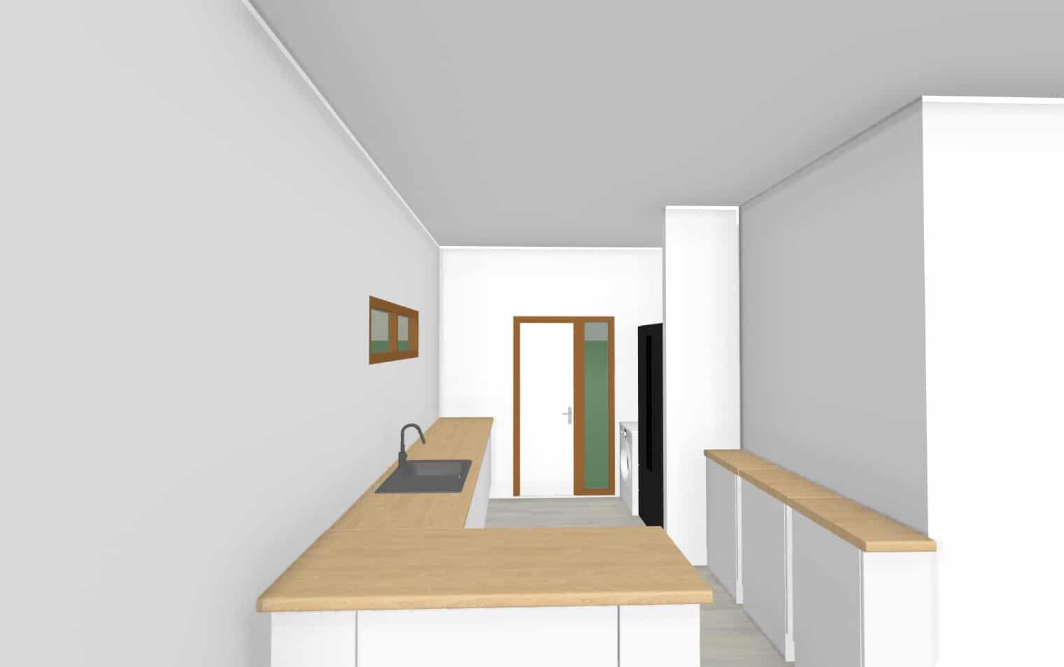Vista cocina    103 m2Casa mediterranea prefabricada en U