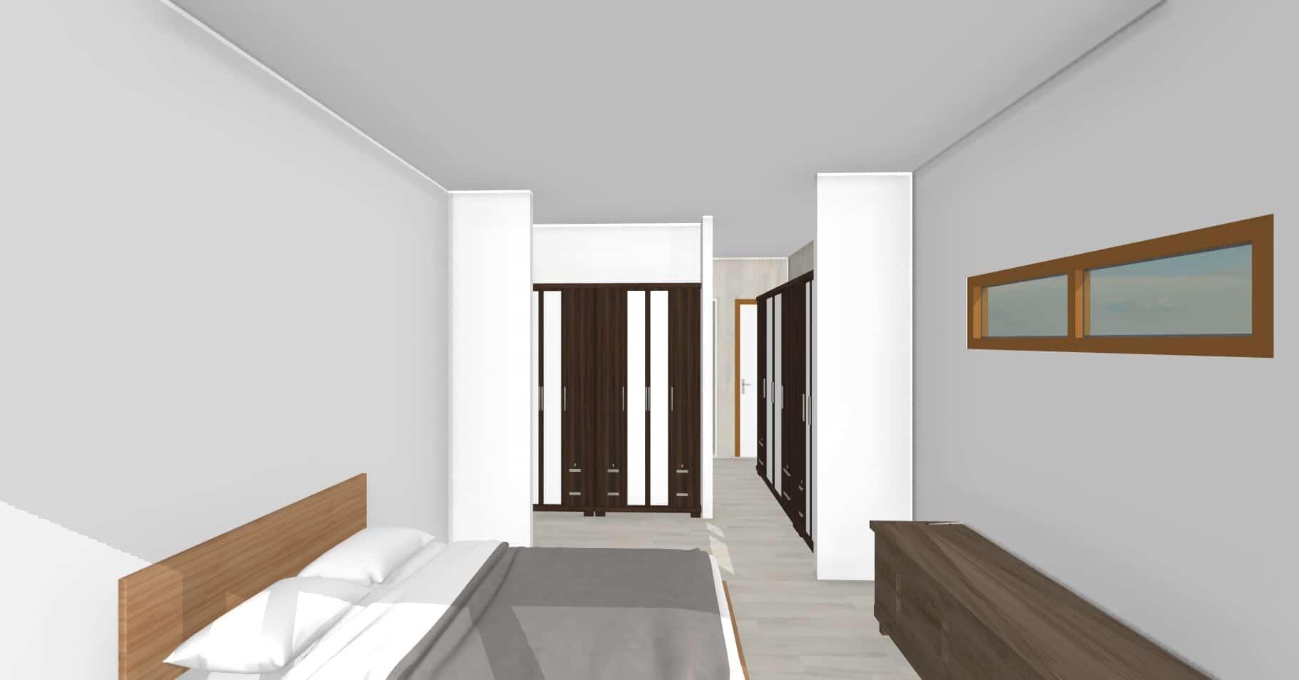 Vista dormitorio suite   103 m2Casa mediterranea prefabricada en U