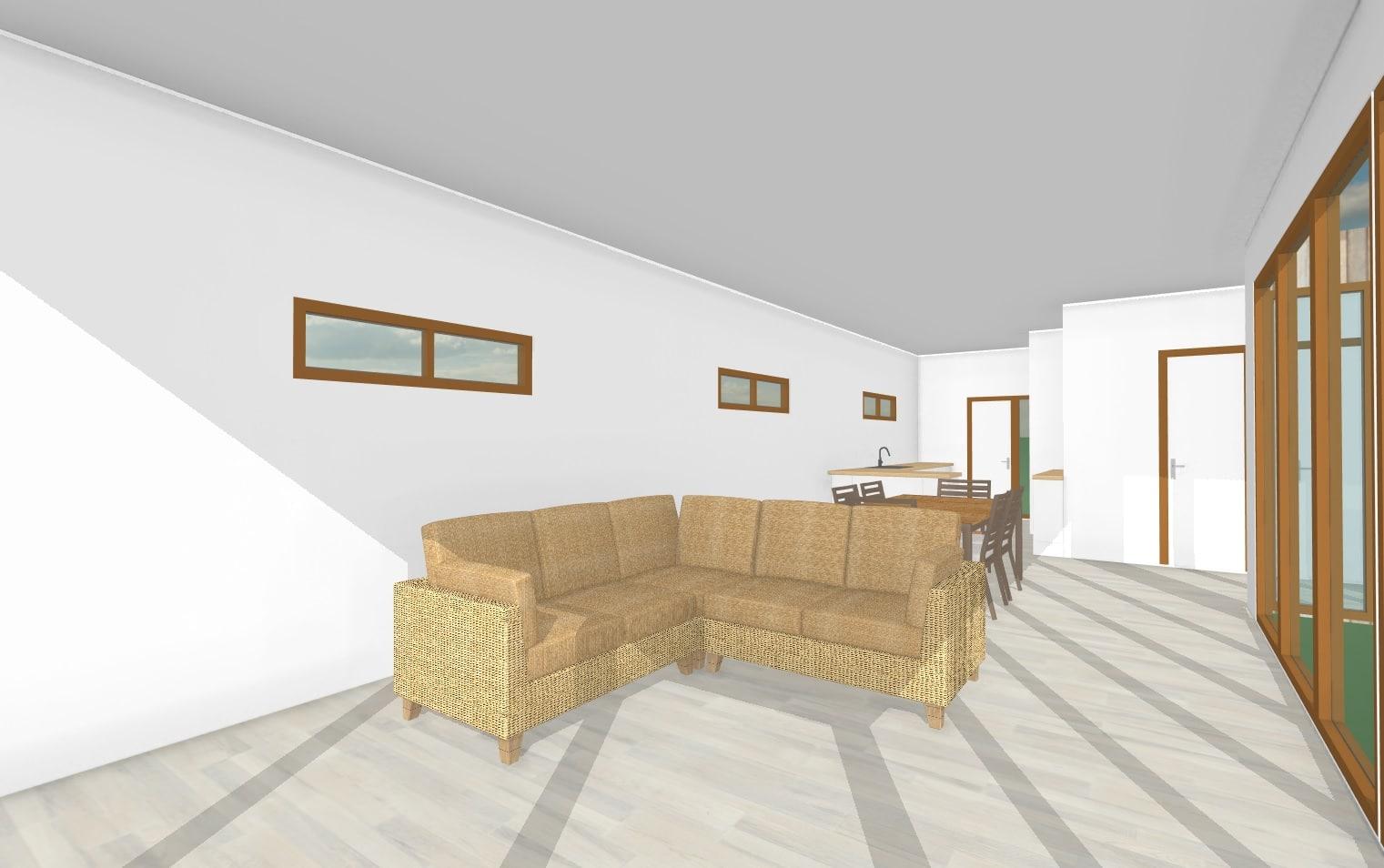Vista living comedor    103 m2Casa mediterranea prefabricada en U