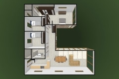 Planta 3D 103 m2Casa mediterranea prefabricada en U