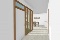 Vista Vestivulo   103 m2Casa mediterranea prefabricada en U