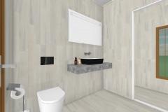 Vista baño principal    103 m2Casa mediterranea prefabricada en U