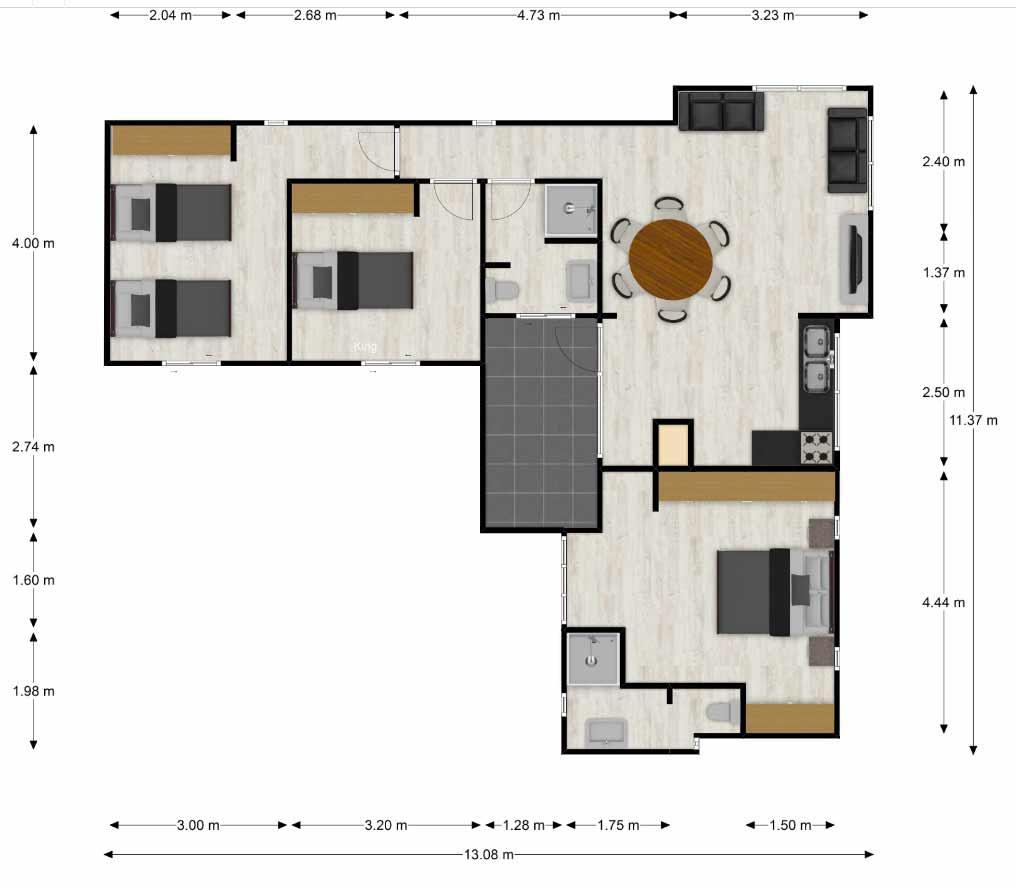 Planta-Casa-prefabricada-mediterranea-83m2-con-cocina-americana