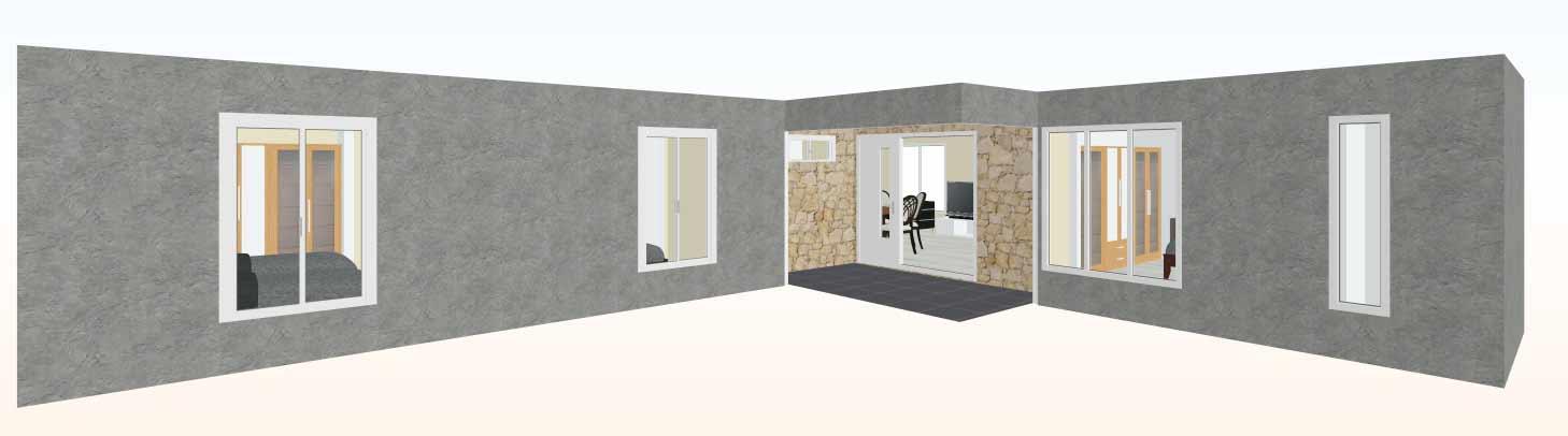 Vista-frente-3d-Casa-prefabricada-mediterranea-83m2-con-cocina-americana