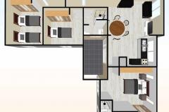 Planta-3d-Casa-prefabricada-mediterranea-83m2-con-cocina-americana