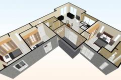 Planta-aerea--3d-Casa-prefabricada-mediterranea-83m2-con-cocina-americana