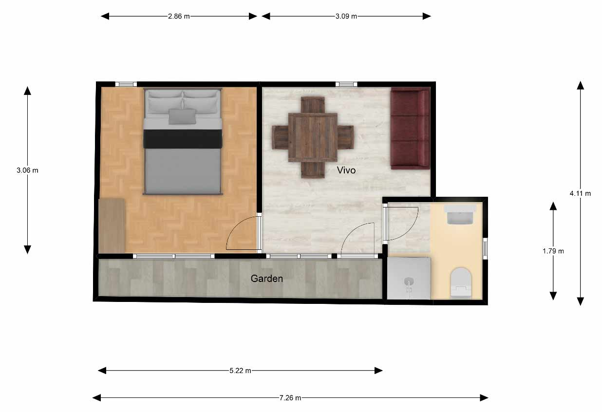 Planta-acotada-Cabaña-prefabricada-20m2